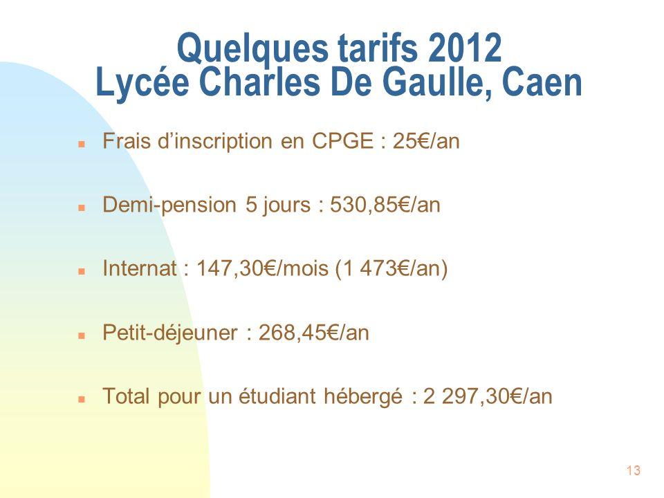 Quelques tarifs 2012 Lycée Charles De Gaulle, Caen