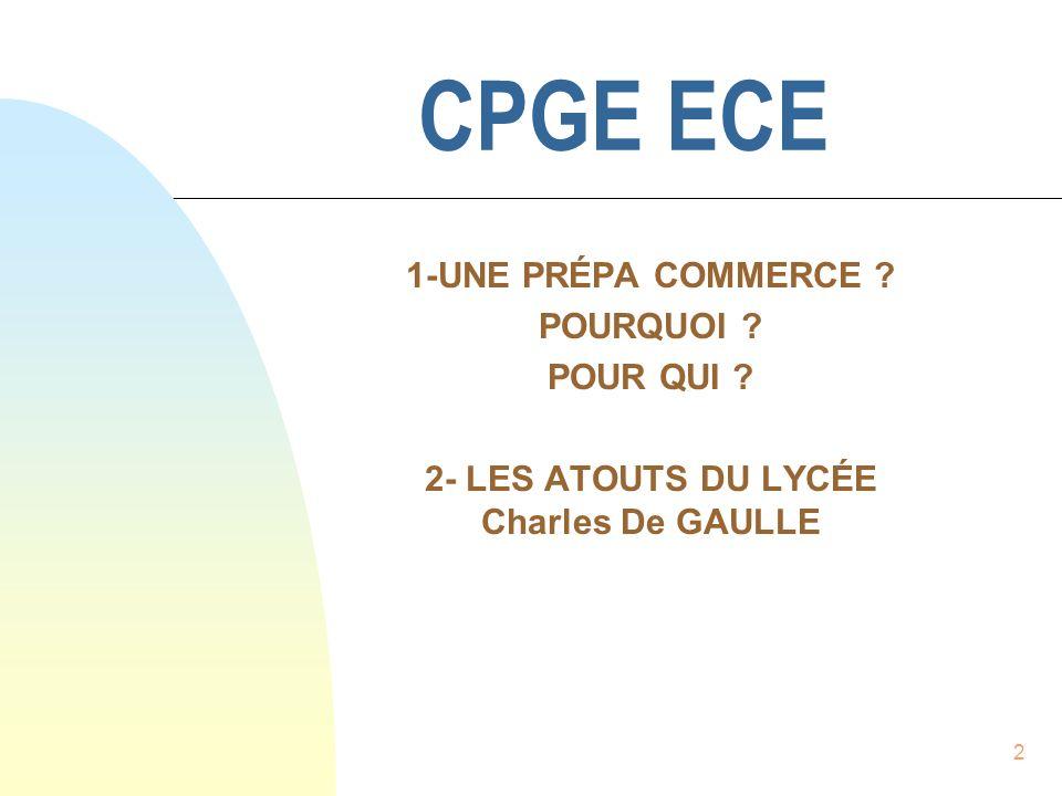 2- LES ATOUTS DU LYCÉE Charles De GAULLE