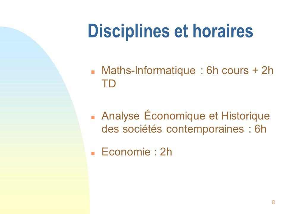 Disciplines et horaires