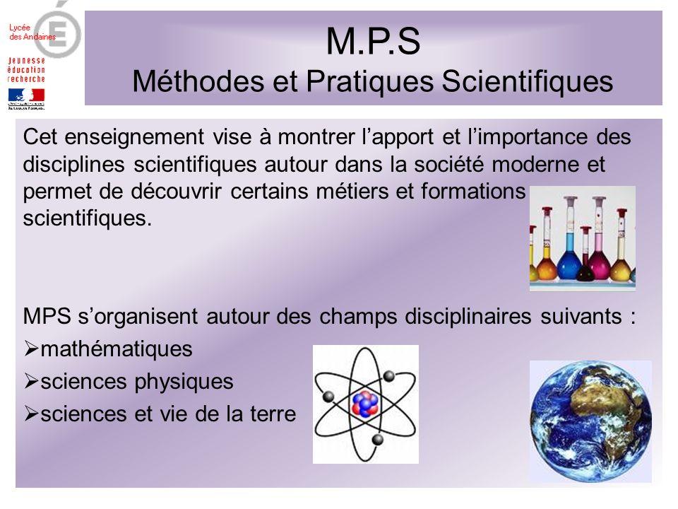 M.P.S Méthodes et Pratiques Scientifiques