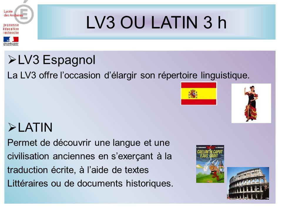 LV3 OU LATIN 3 h LV3 Espagnol LATIN