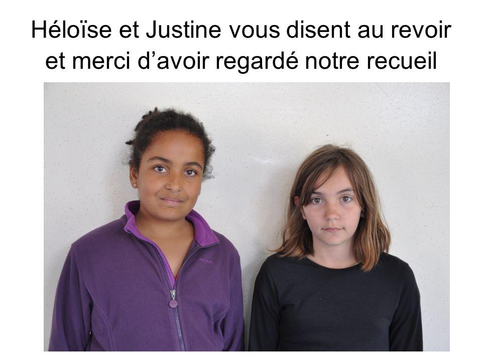 Héloïse et Justine vous disent au revoir et merci d'avoir regardé notre recueil