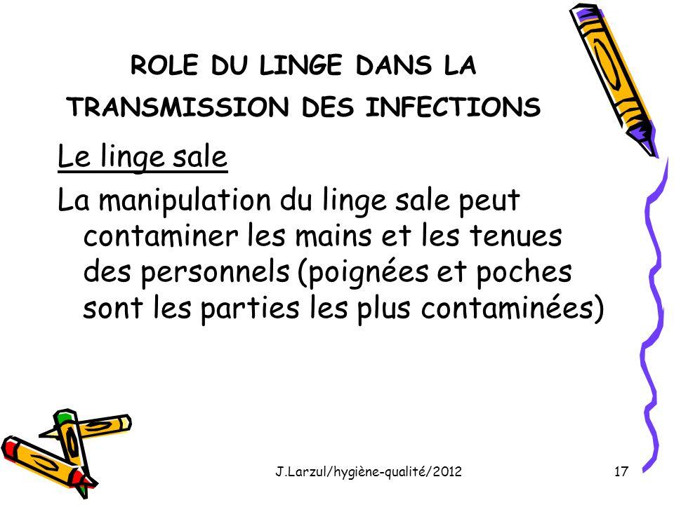 ROLE DU LINGE DANS LA TRANSMISSION DES INFECTIONS