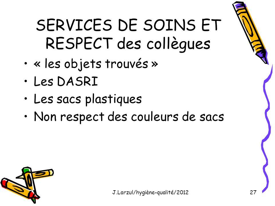 SERVICES DE SOINS ET RESPECT des collègues