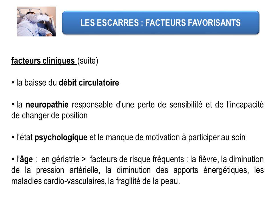 LES ESCARRES : FACTEURS FAVORISANTS