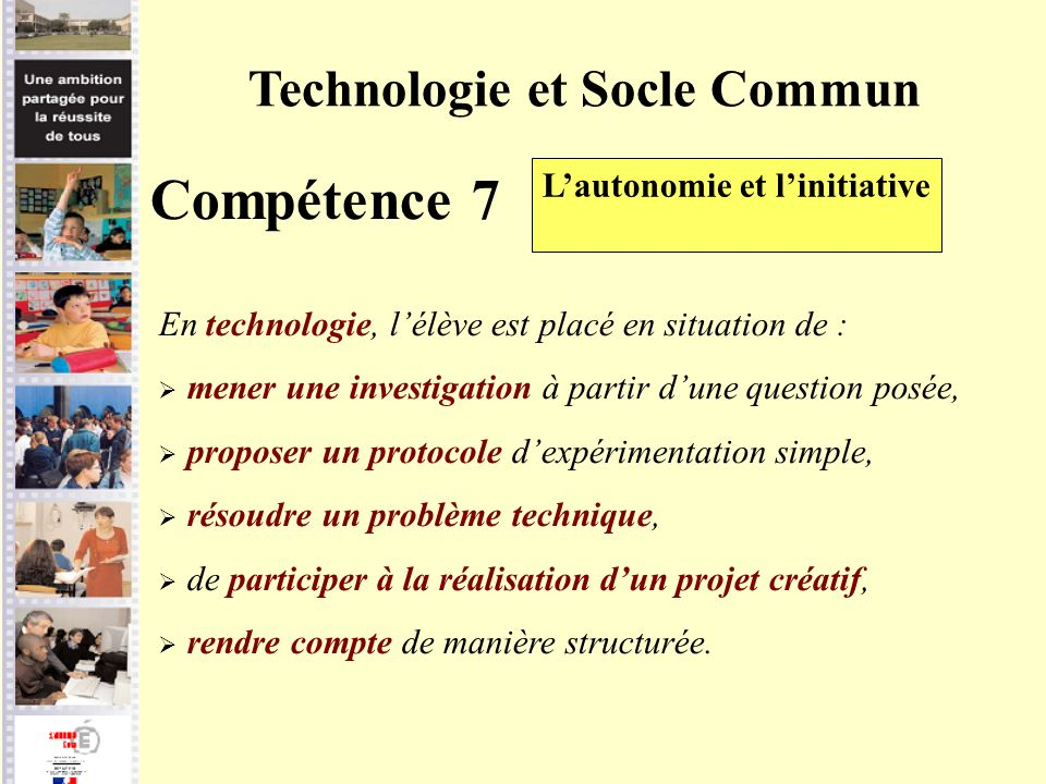 Technologie et Socle Commun L'autonomie et l'initiative