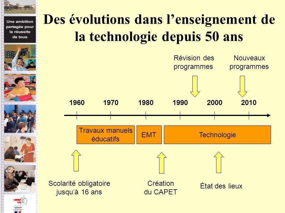 Des évolutions dans l'enseignement de la technologie depuis 50 ans