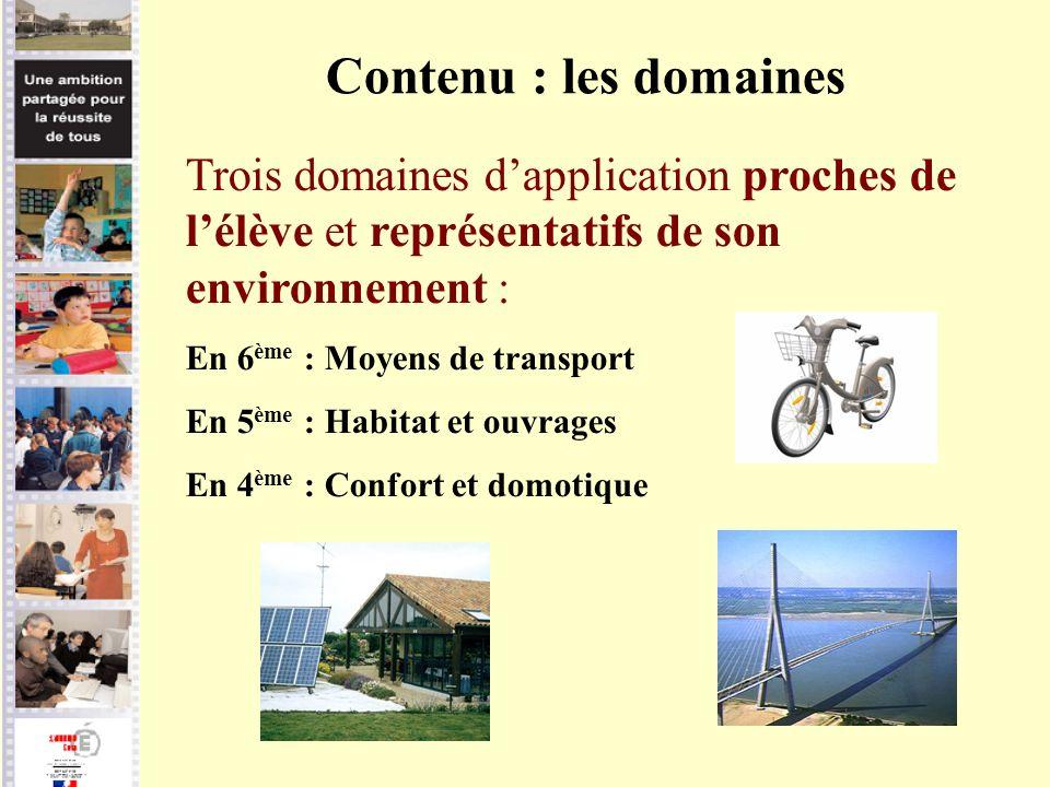 Contenu : les domaines Trois domaines d'application proches de l'élève et représentatifs de son environnement :
