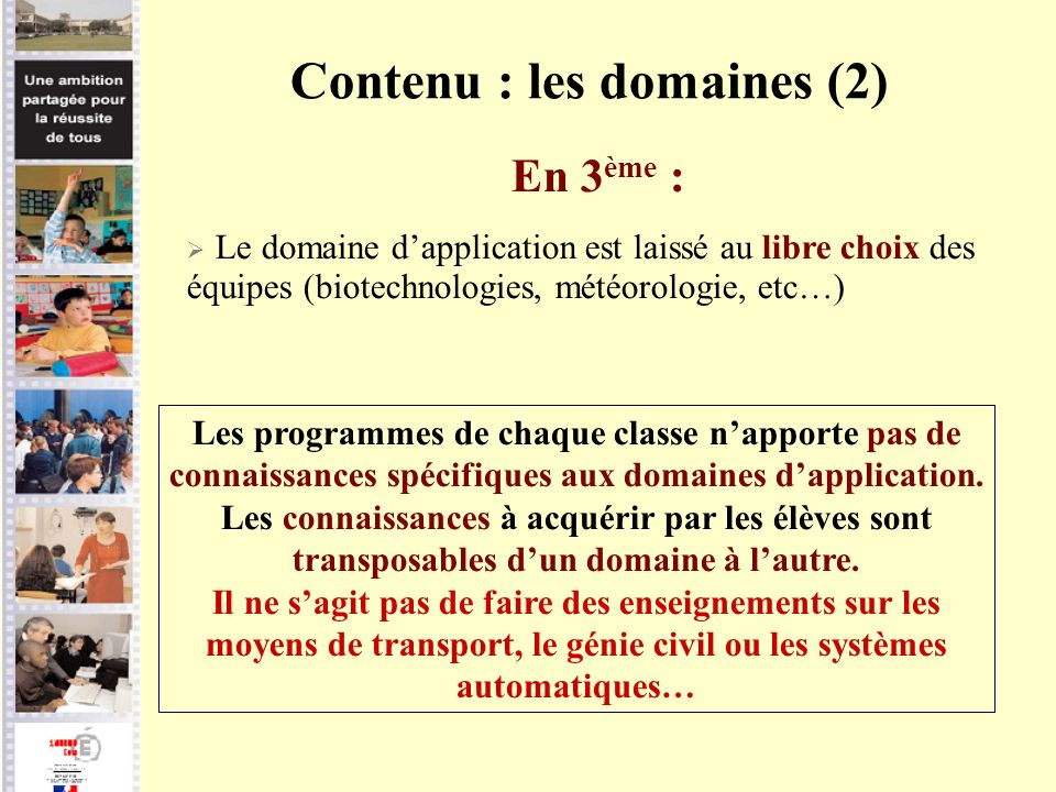 Contenu : les domaines (2)