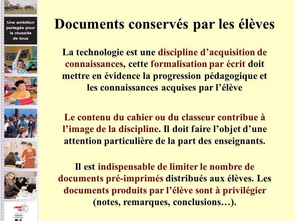 Documents conservés par les élèves