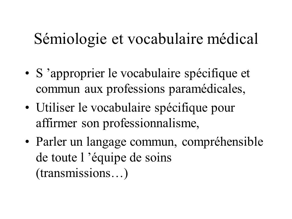 Sémiologie et vocabulaire médical