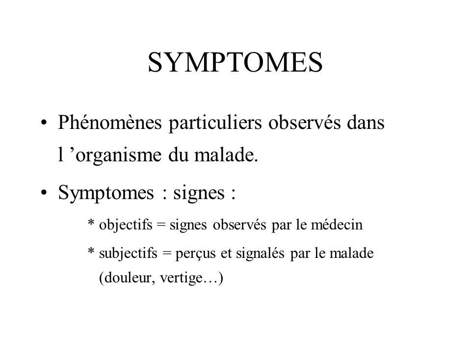 SYMPTOMESPhénomènes particuliers observés dans l 'organisme du malade. Symptomes : signes : * objectifs = signes observés par le médecin.