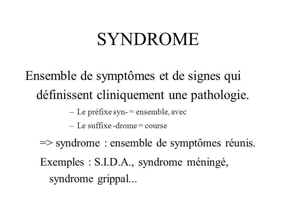 SYNDROMEEnsemble de symptômes et de signes qui définissent cliniquement une pathologie. Le préfixe syn- = ensemble, avec.