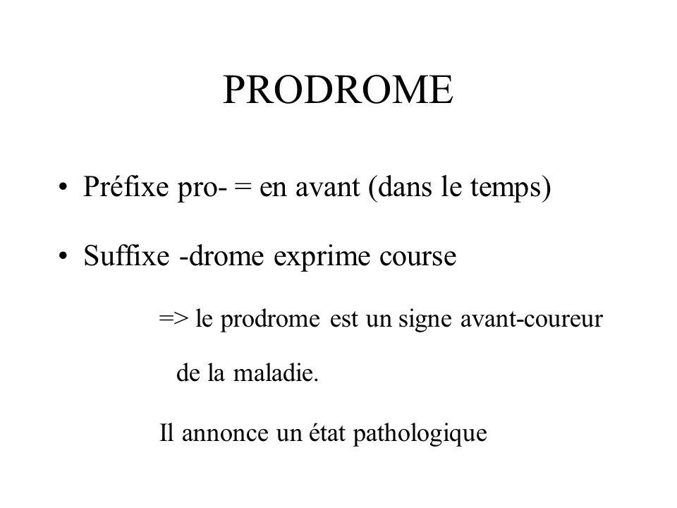 PRODROME Préfixe pro- = en avant (dans le temps)