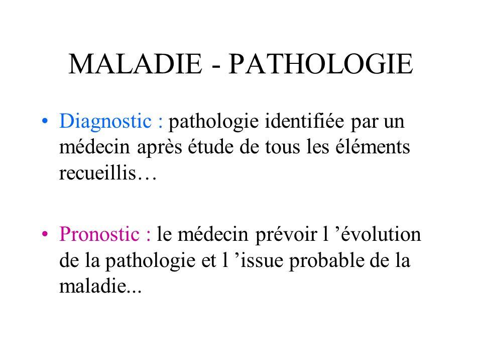 MALADIE - PATHOLOGIE Diagnostic : pathologie identifiée par un médecin après étude de tous les éléments recueillis…
