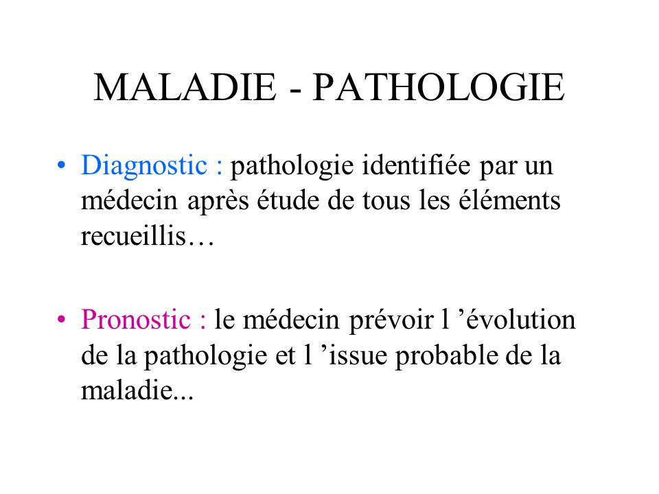 MALADIE - PATHOLOGIEDiagnostic : pathologie identifiée par un médecin après étude de tous les éléments recueillis…