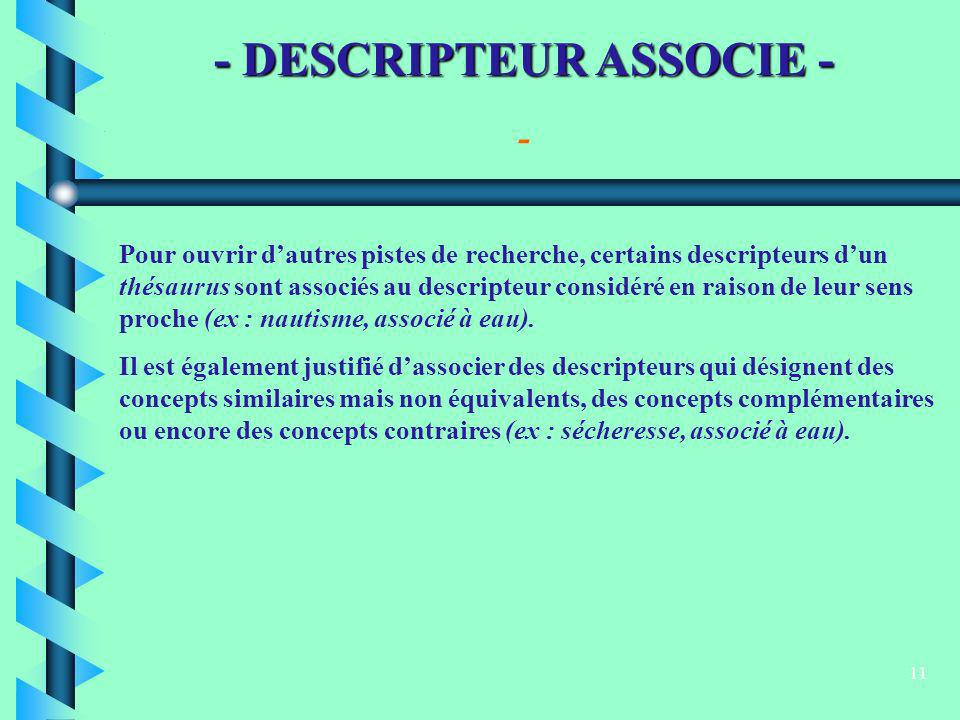 - DESCRIPTEUR ASSOCIE -