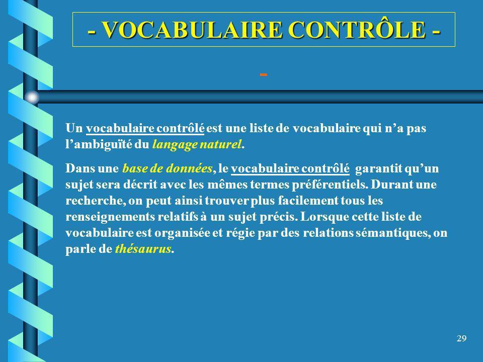 - VOCABULAIRE CONTRÔLE -