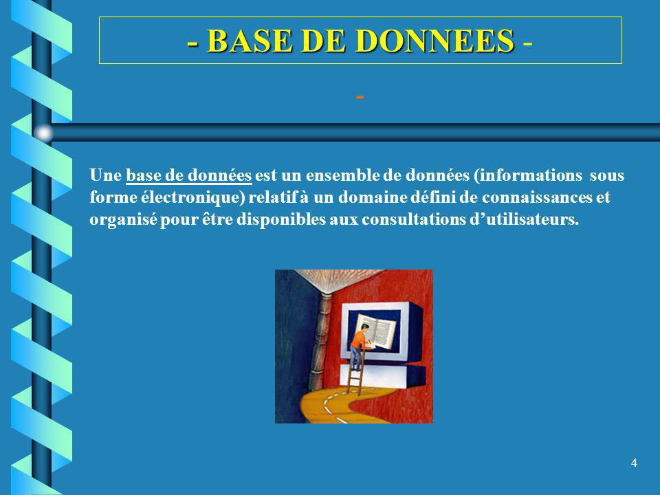 - BASE DE DONNEES - -