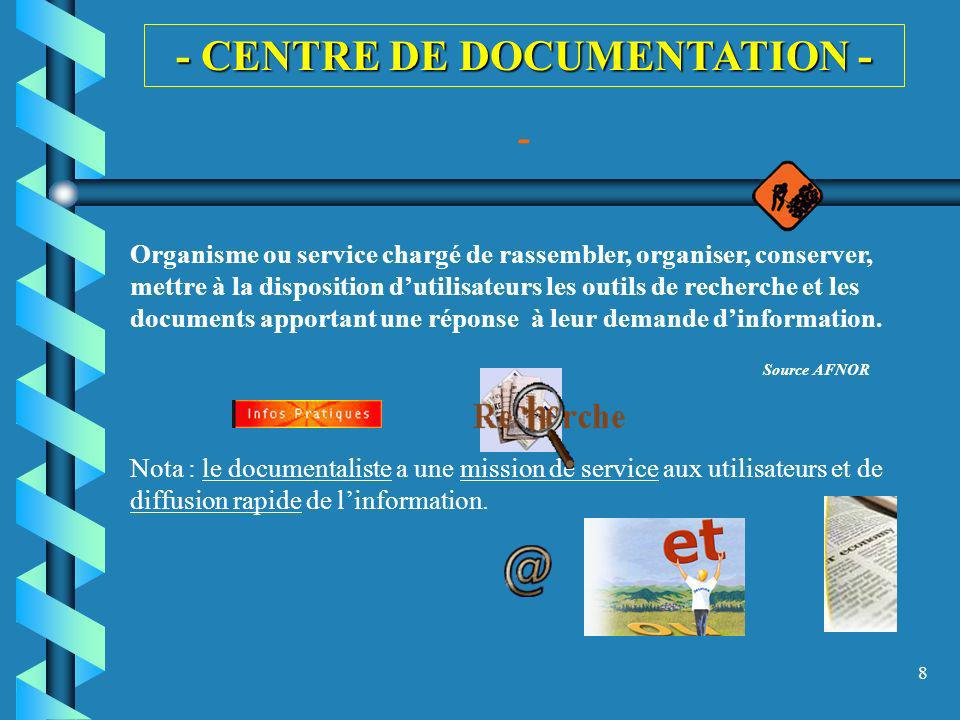 - CENTRE DE DOCUMENTATION -