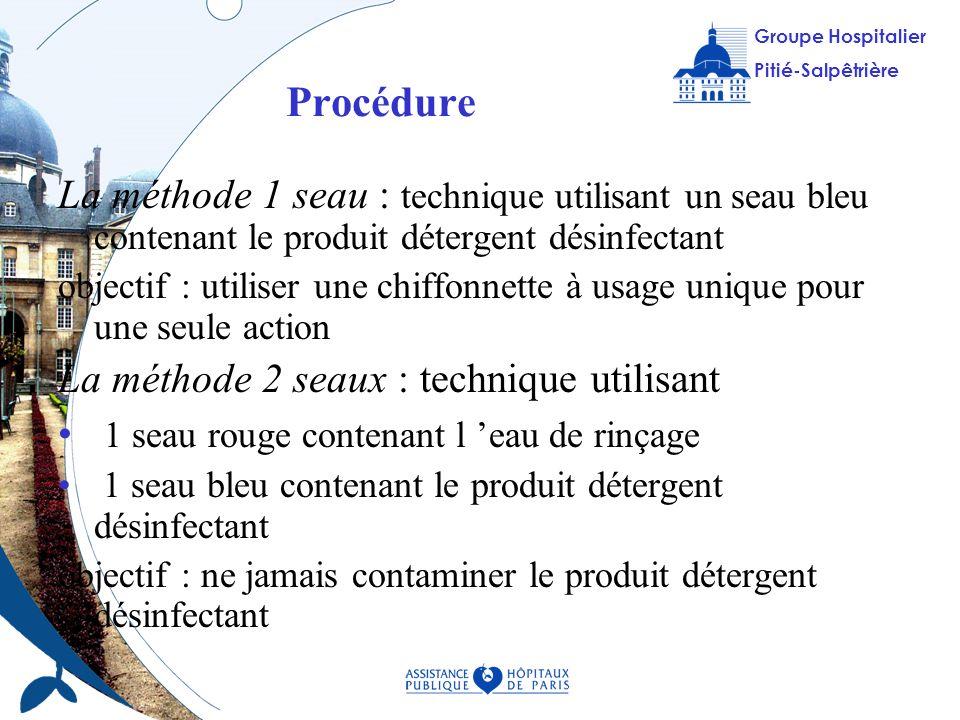 ProcédureLa méthode 1 seau : technique utilisant un seau bleu contenant le produit détergent désinfectant.