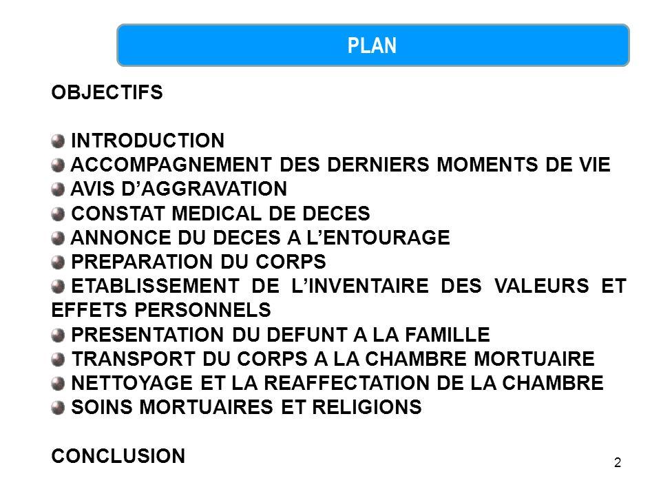 PLAN OBJECTIFS INTRODUCTION ACCOMPAGNEMENT DES DERNIERS MOMENTS DE VIE
