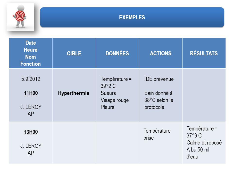 EXEMPLESDate. Heure. Nom. Fonction. CIBLE. DONNÉES. ACTIONS. RÉSULTATS. 5.9.2012. 11H00. J. LEROY. AP.