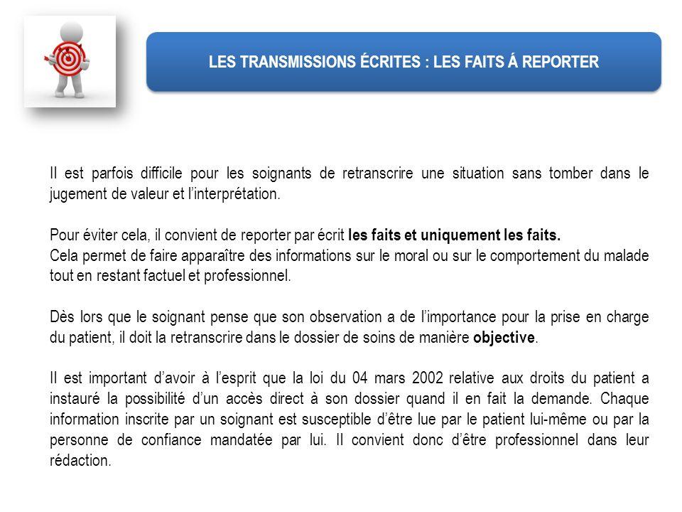 LES TRANSMISSIONS ÉCRITES : LES FAITS Á REPORTER