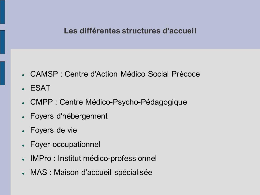 Les différentes structures d accueil