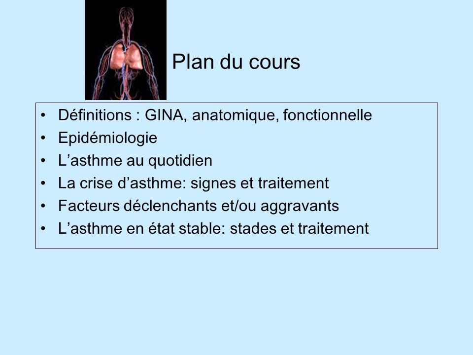 Plan du cours Définitions : GINA, anatomique, fonctionnelle