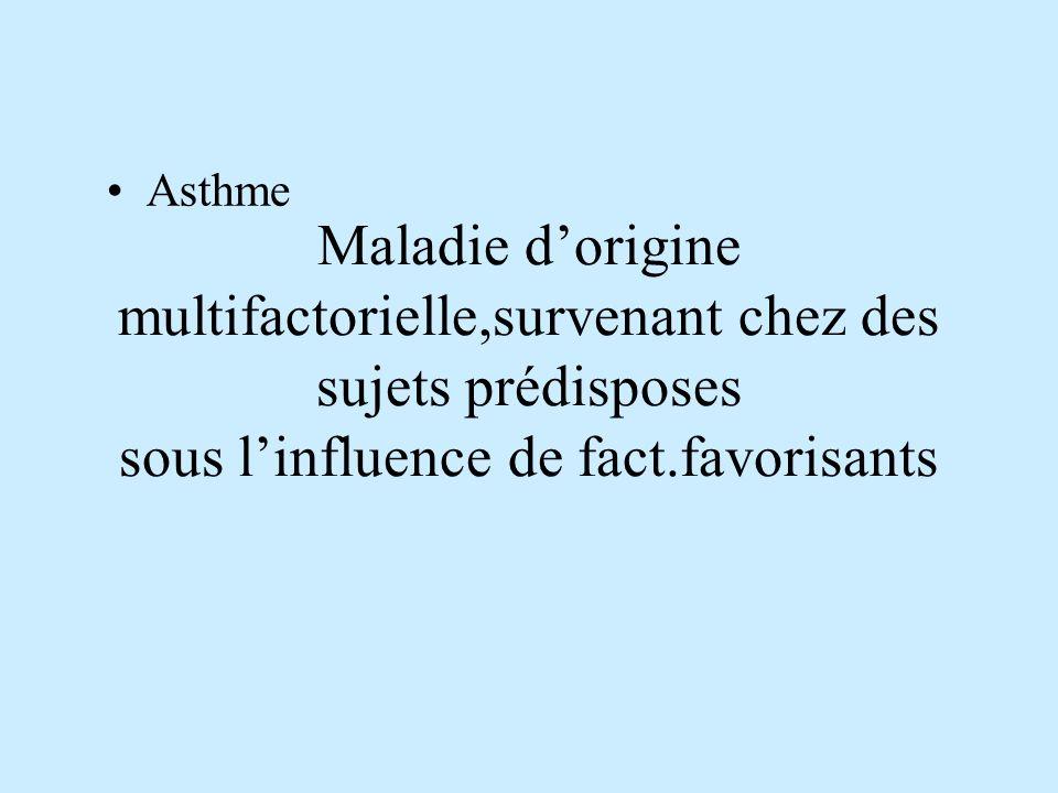 Maladie d'origine multifactorielle,survenant chez des sujets prédisposes sous l'influence de fact.favorisants