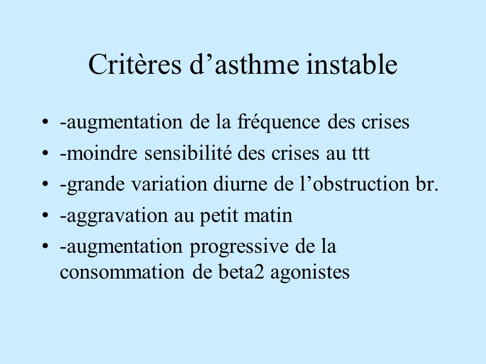 Critères d'asthme instable