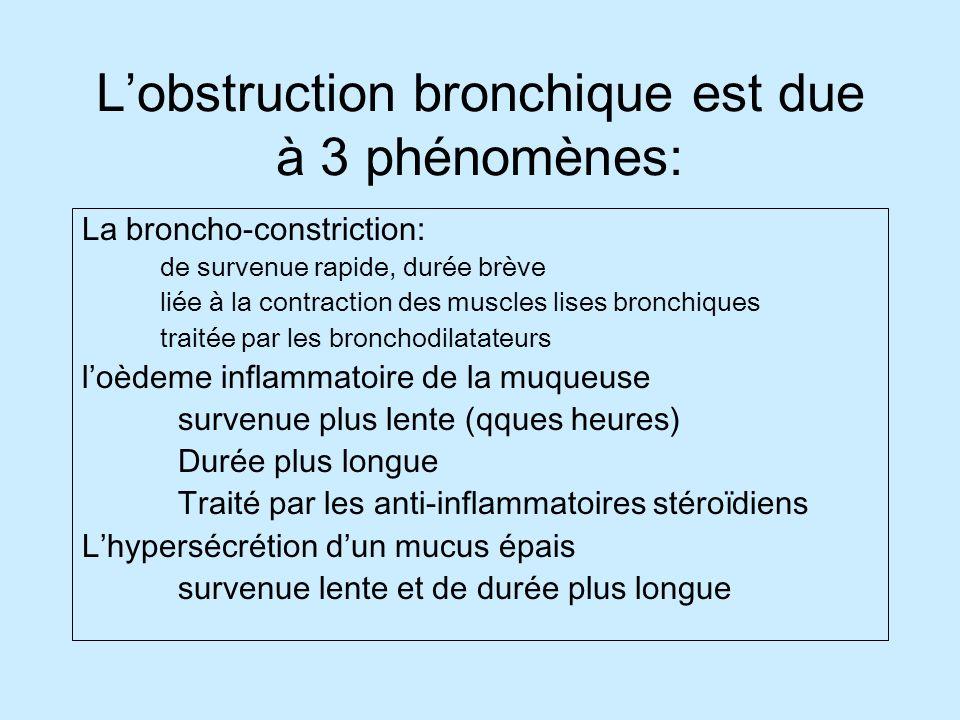 L'obstruction bronchique est due à 3 phénomènes: