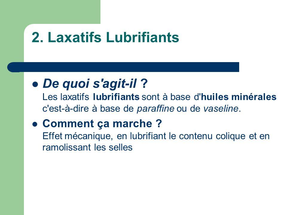 2. Laxatifs Lubrifiants De quoi s agit-il Les laxatifs lubrifiants sont à base d huiles minérales c est-à-dire à base de paraffine ou de vaseline.