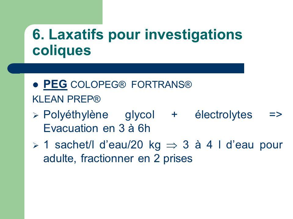 6. Laxatifs pour investigations coliques