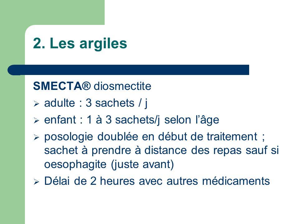 2. Les argiles SMECTA® diosmectite adulte : 3 sachets / j