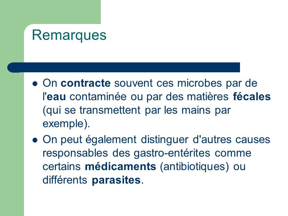 Remarques On contracte souvent ces microbes par de l eau contaminée ou par des matières fécales (qui se transmettent par les mains par exemple).