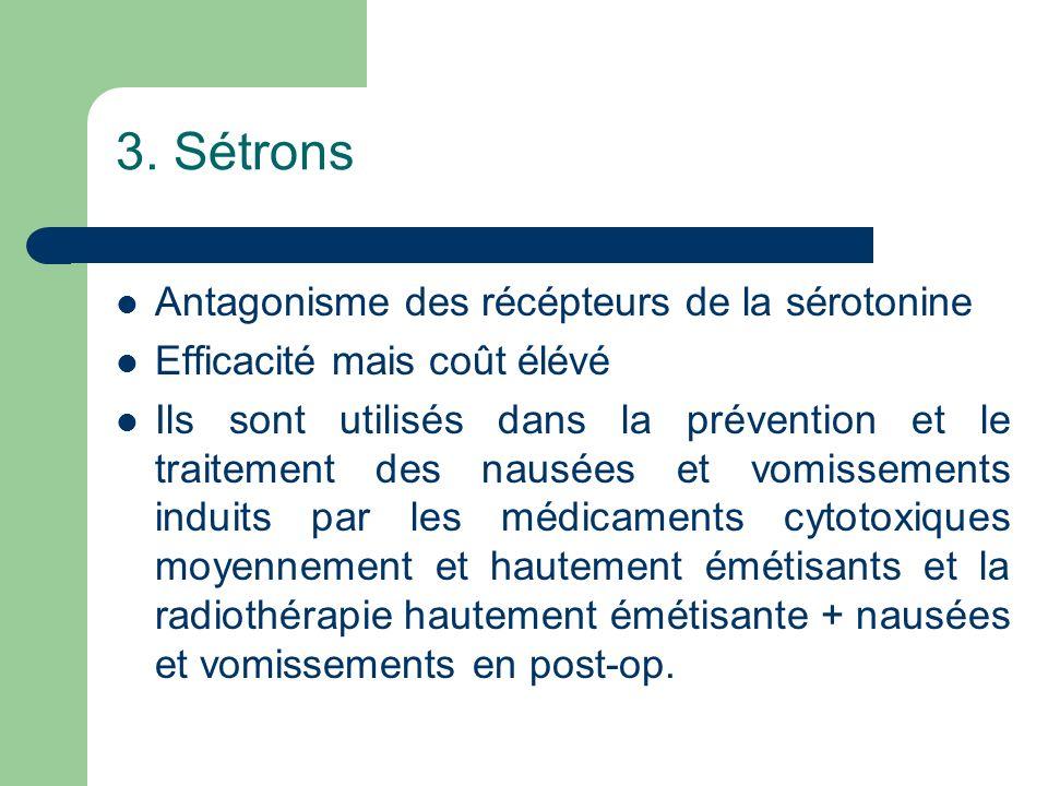 3. Sétrons Antagonisme des récépteurs de la sérotonine
