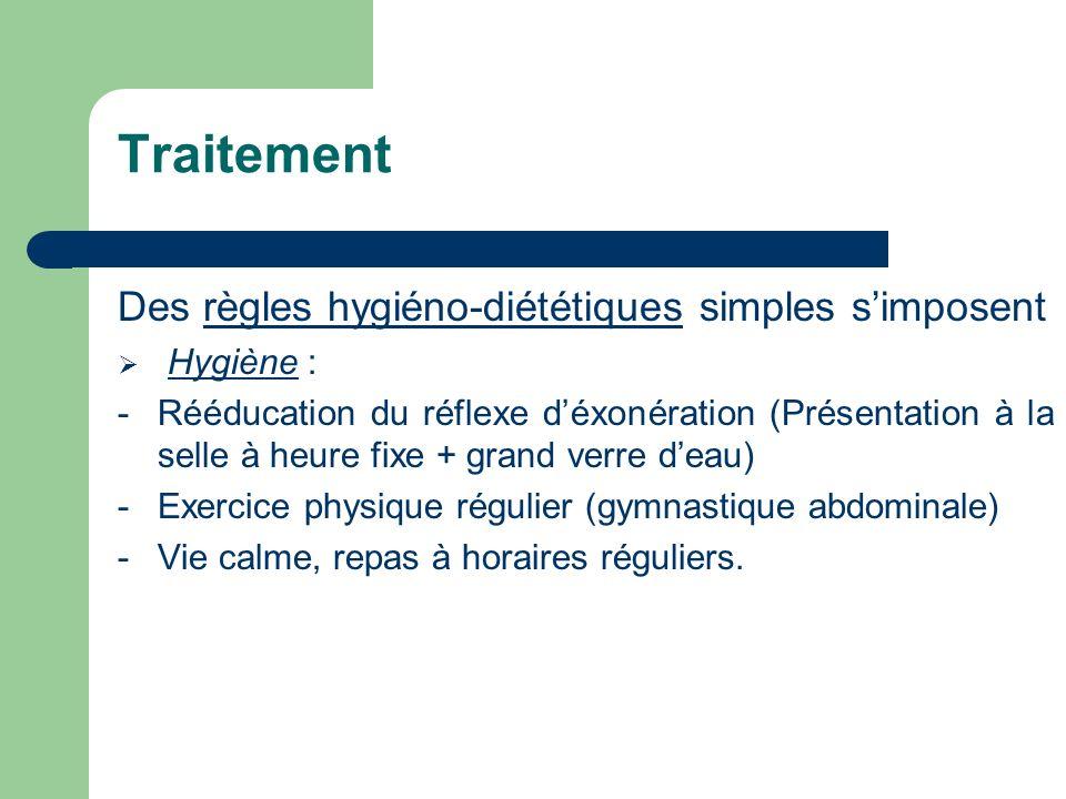 Traitement Des règles hygiéno-diététiques simples s'imposent Hygiène :