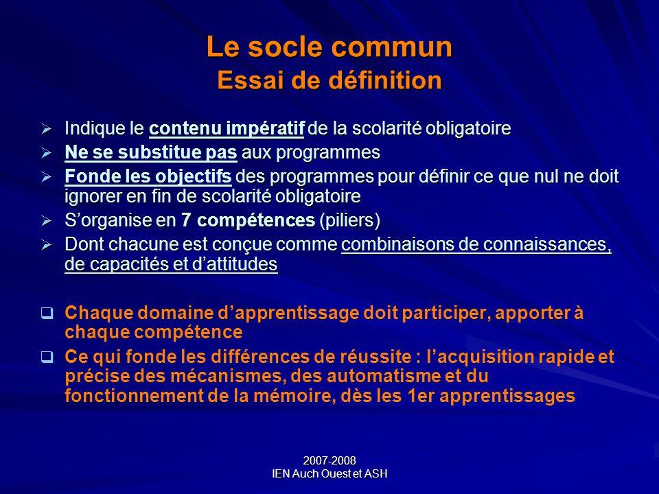 Le socle commun Essai de définition