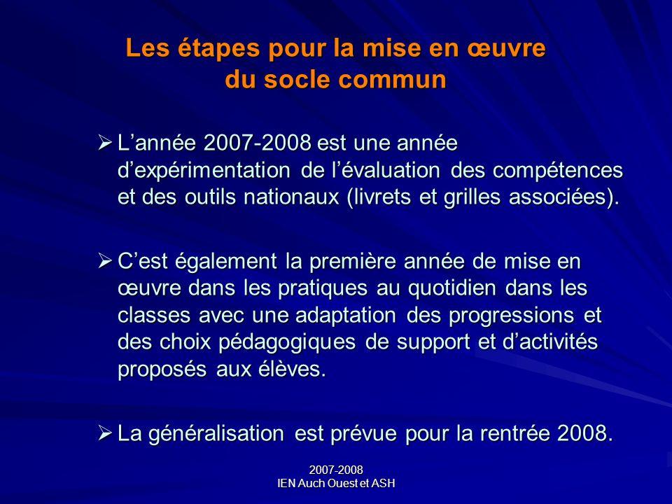 Les étapes pour la mise en œuvre du socle commun