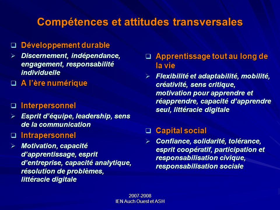 Compétences et attitudes transversales