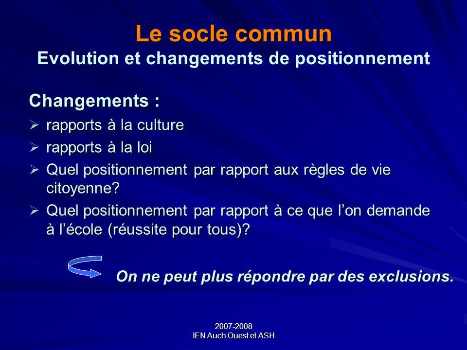 Le socle commun Evolution et changements de positionnement