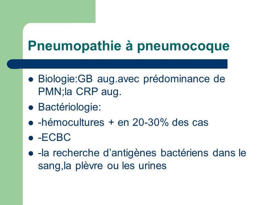 Pneumopathie à pneumocoque