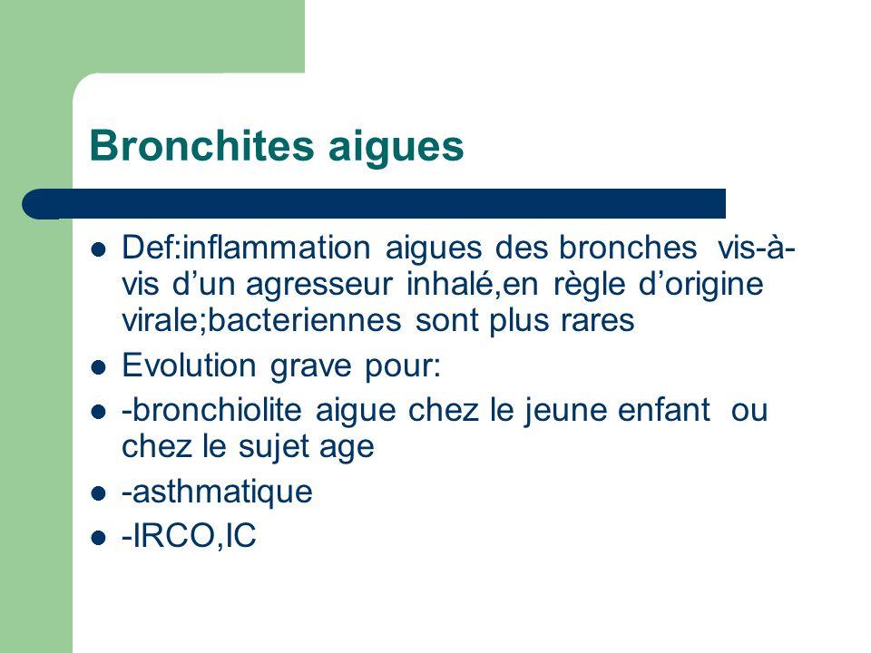 Bronchites aigues Def:inflammation aigues des bronches vis-à-vis d'un agresseur inhalé,en règle d'origine virale;bacteriennes sont plus rares.