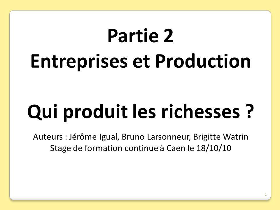 Entreprises et Production Qui produit les richesses