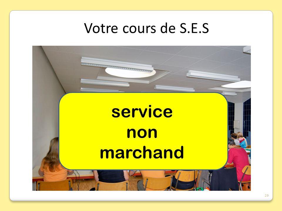 Votre cours de S.E.S service non marchand S.E.S