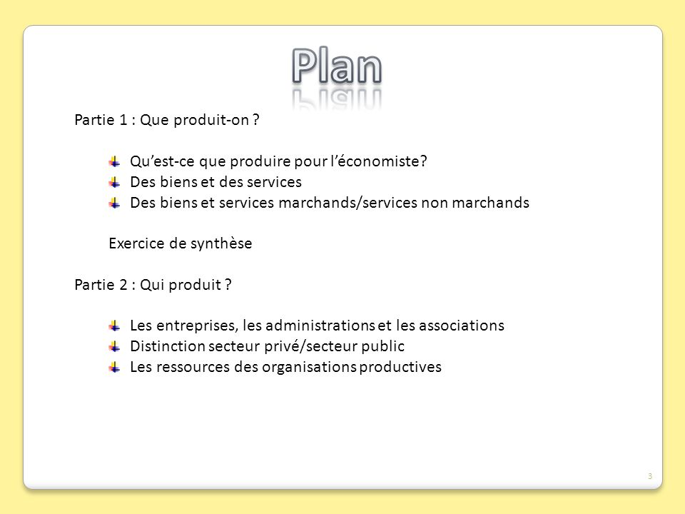Plan Partie 1 : Que produit-on