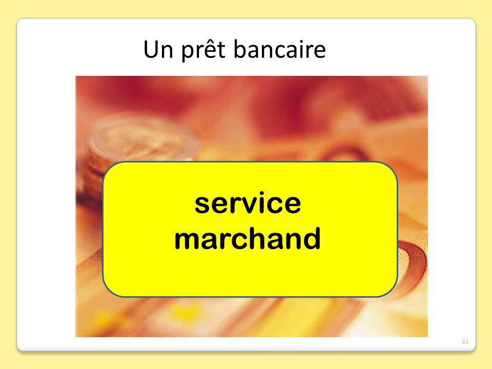 Un prêt bancaire service marchand