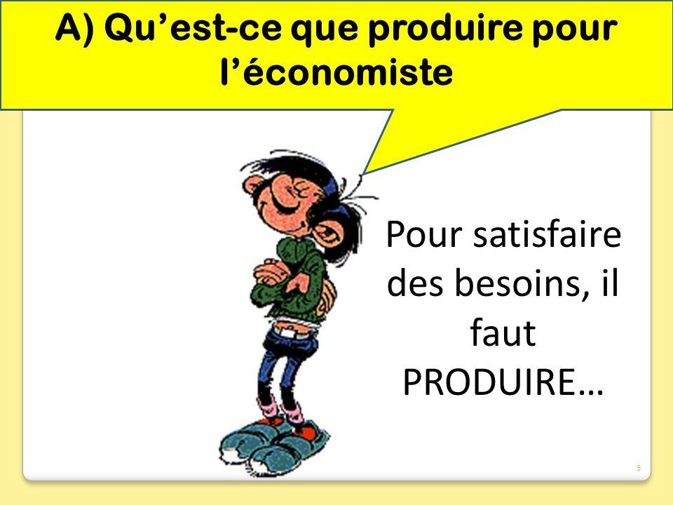 A) Qu'est-ce que produire pour l'économiste